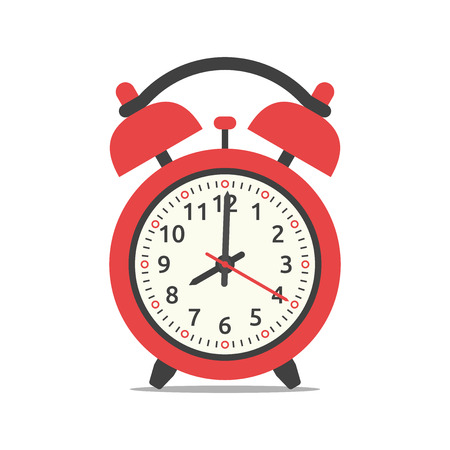 Red alarm clock showing eight oclock, isolated on white background. Flat design. Illustration. EPS 8, no transparency