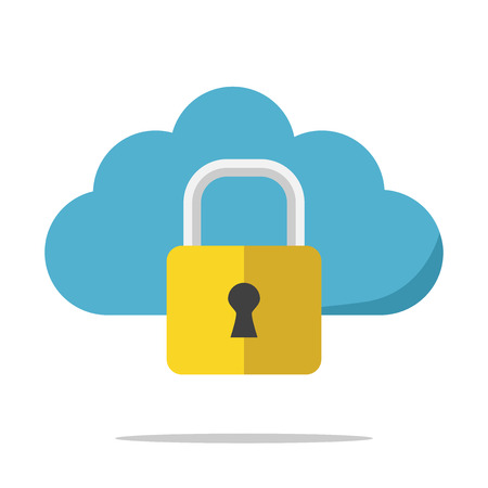 Blue cloud with gold lock isolated on white background. Security, data and privacy concept. Flat design. Illustration. EPS 8, no transparency Illustration