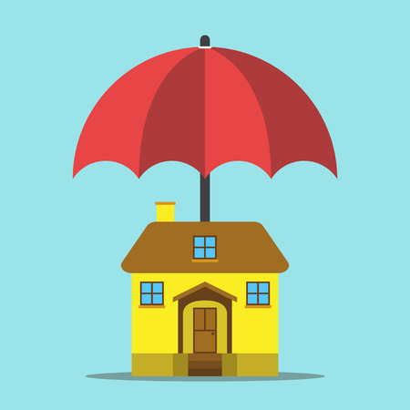 Red umbrella protecting yellow house on blue background. Insurance, security and real estate concept. Flat design. Vector illustration. EPS 8, no transparency