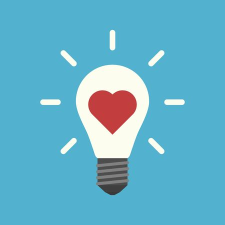 Red heart inside light bulb with rays on blue background. Inspiration, motivation, idea and insight concept. Flat design. Vector illustration. EPS 8, no transparency