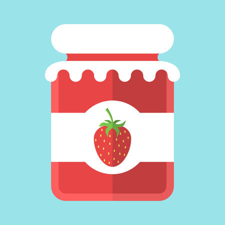 preserved: Glass strawberry jam jar isolated on blue background. Flat design. Vector illustration. EPS 8, no transparency