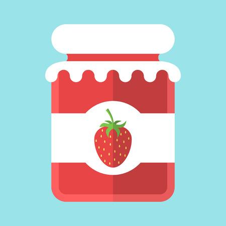 jam jar: Glass strawberry jam jar isolated on blue background. Flat design. Vector illustration. EPS 8, no transparency
