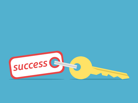 Golden key to success with label on blue background. Achievement, prosperity and solution concept. Flat design. Vector illustration. EPS 8, no transparency