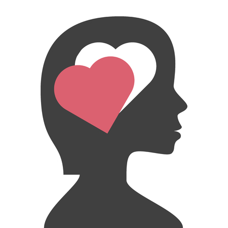 Hole in a woman's head in the shape of heart isolated on white background. Love, instinct and romance concept. Flat design. Vector illustration. EPS 8, no transparency Ilustração