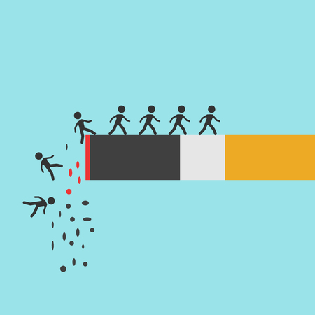 Cigarette burning with falling people on blue background. Death, risk, smoking and danger concept. Flat design.