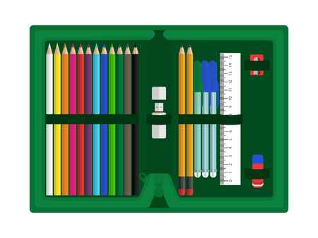 Green pencil case with school supplies isolated on white background. Flat design.