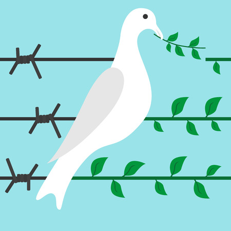 Bird turns barbed wire in branch on blue background. Diplomacy, hope, optimism and freedom concept. Flat design.