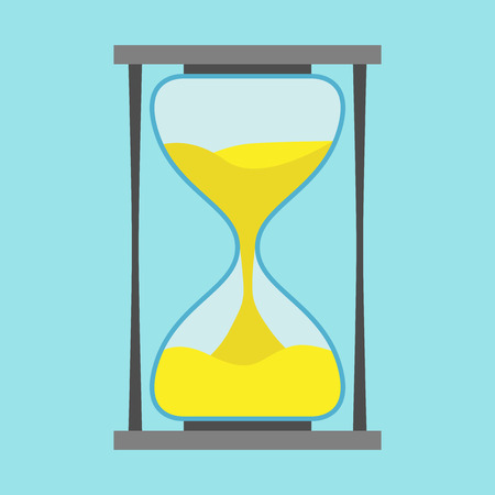 Black hourglass on blue background. Flat design.