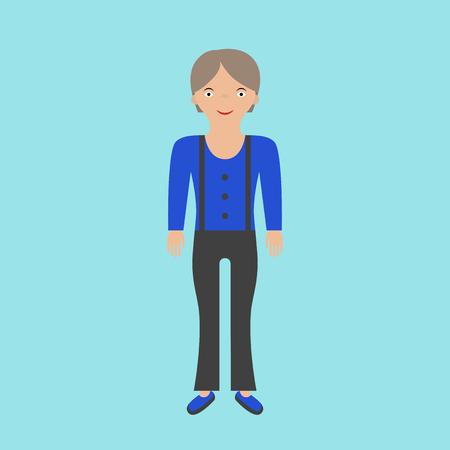 Farmer woman in overalls on blue background. Flat design. Illustration