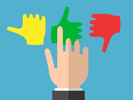 Businessman hand selects good emotions on blue background. Emotions, choice and contrast concept. Flat design.