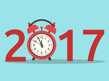 Happy New Year 2017 with red clock on blue background. New year, happy and christmas concept. Flat design.
