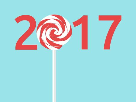 Happy New Year 2017 with lollipop on blue background. New year, happy and christmas concept. Flat design. Illustration