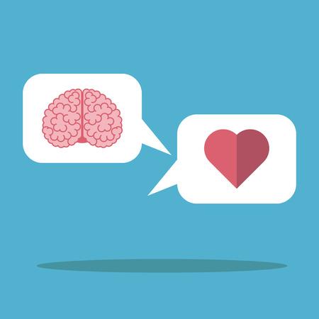 Corazón y el cerebro de la nube blanca sobre fondo azul. Mente, la lógica, la emoción y el concepto de amor. Diseño plano.