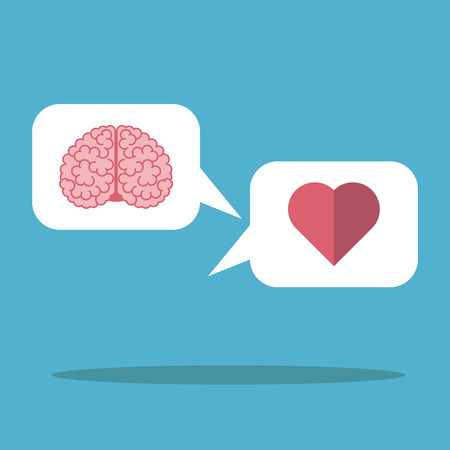 emotional: Heart and brain in the white cloud on blue background. Mind, logic, emotion and love concept. Flat design.