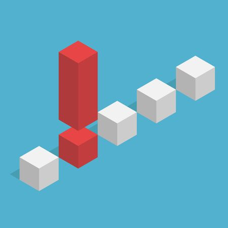 Unique isometric red exclamation mark stands out from the many gray cubes on blue background. Leadership, success and danger concept. Flat design. Vector illustration. EPS 8, no transparency Illustration
