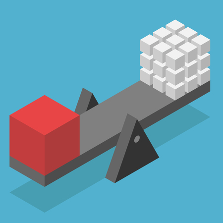 equilibrium: Isometric scale with big red and many white small cubes on blue background. Balance, harmony and equilibrium concept. Flat design. Vector illustration. EPS 8, no transparency