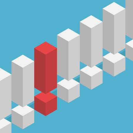 Unique isometric red exclamation mark stands out from the many of same gray ones on blue background. Leadership, success and danger concept. Flat design. Vector illustration. EPS 8, no transparency