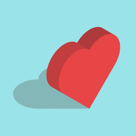 Isometric red heart on blue background. Icon with shadow. Love concept. Flat design. Vector illustration. EPS 8, no transparency
