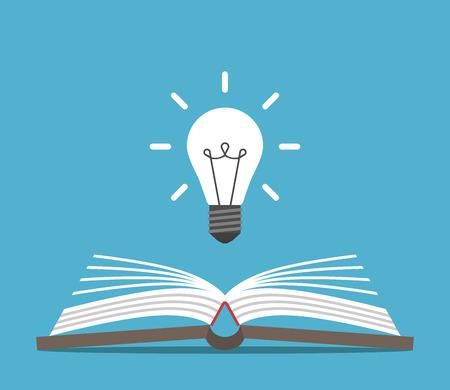 開いた本と青の背景に明るい白熱電球。教育、アイデアや洞察力の概念。フラットなデザイン。ベクトルの図。EPS 8、透明度なし