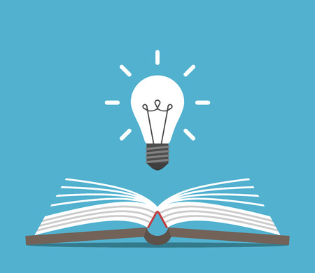 Open book and bright glowing light bulb on blue background. Education, idea and insight concept. Flat design. Vector illustration. EPS 8, no transparency Ilustração