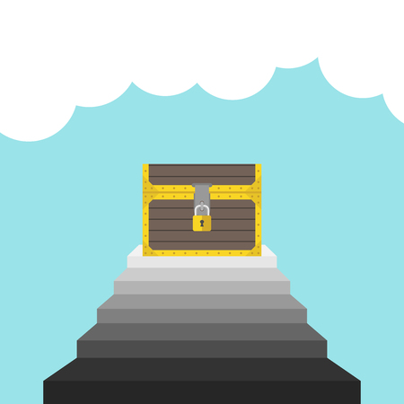 aspirational: Treasure chest on staircase leading into blue sky with white clouds. Achievement, motivation and success concept. Flat design. Vector illustration. EPS 8, no transparency