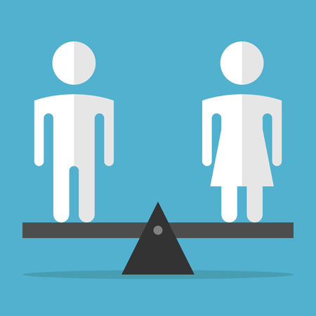 White man and woman silhouettes standing on weighing scales on blue background. Gender, harmony and civil rights concept. Flat design. Vector illustration. EPS 8, no transparency