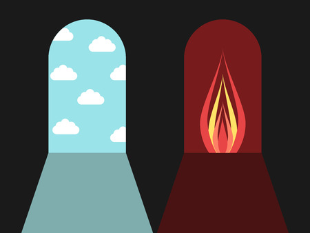 darkness: Doors leading to blue sky with clouds and red darkness with fire. Hell and heaven, sin and death concept. Flat design. Vector illustration. EPS 8, no transparency
