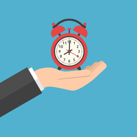 Hand holding red alarm clock showing 8 oclock on blue background. Time, start, urgency and sleep concept. Flat design. Vector illustration. EPS 8, no transparency
