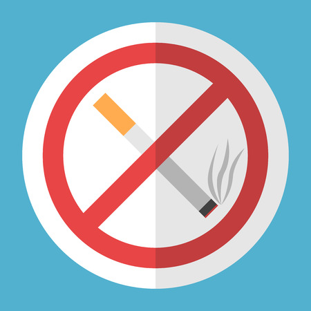 No smoking sign. Crossed cigarette in white circle with red frame on blue background. Illustration