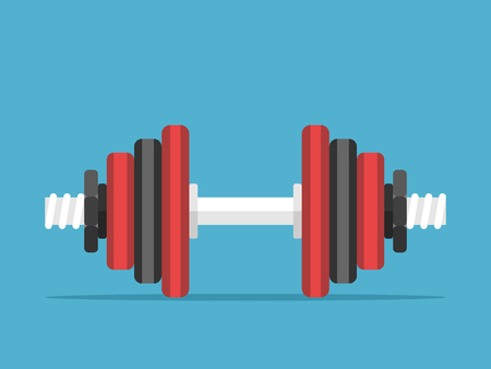 Assembled dumbbell with red and black disks on blue background. Sports, weight lifting and exercise concept.Flat design.