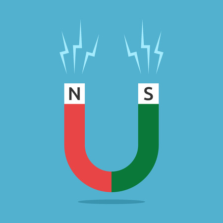 magnetismo: Red and green horseshoe shaped magnet with N and S letters and sparks on blue background. Magnetism, science, attraction and education concept.
