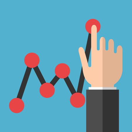 Hand touching black line chart with red points on blue background. Profit, report and growth concept. Flat design. Vector illustration. EPS 8, no transparency Illustration