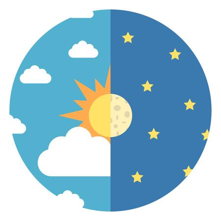 Ciel divisé en deux avec soleil, lune, nuages ??blancs et étoiles jaunes. Jour et nuit, concept nature et heure. Design plat. Illustration vectorielle EPS 8, pas de transparence