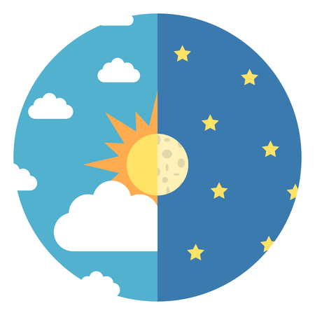 Sky divided in halves with sun, moon, white clouds and yellow stars. Day and night, nature and time concept. Flat design. Vector illustration. EPS 8, no transparency