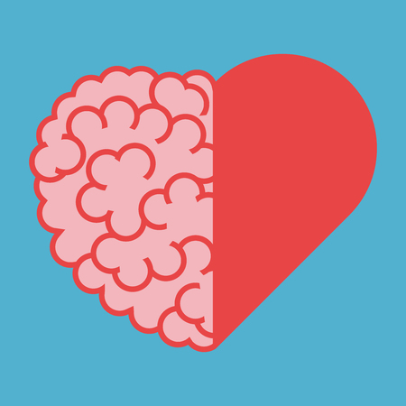 United brain and heart halves. Intelligence, emotion and creativity concept. Flat design. Vector illustration. EPS 8, no transparency