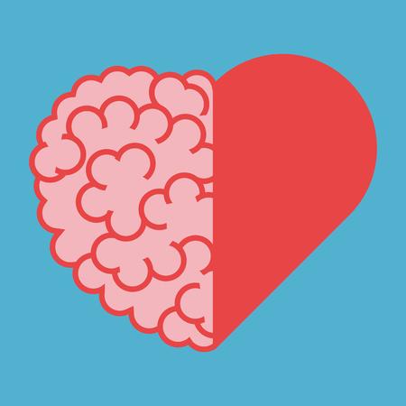 Verenigde hersen- en harthelften. Intelligentie, emotie en creativiteit concept. Plat ontwerp. Vector illustratie. EPS 8, geen transparantie
