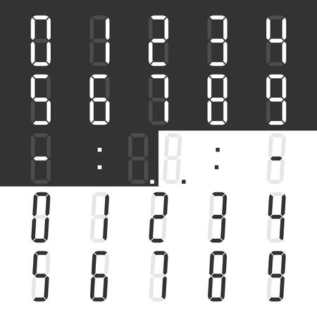 Digital display numbers and symbols set for calculator or clock. Regular and italic styles. Flat design. Vector illustration. EPS 8, no transparency