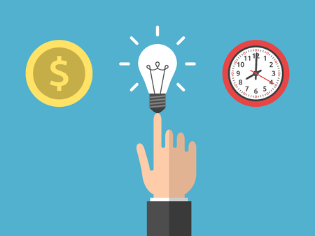 Hand choosing idea instead of money and time. Gold dollar coin, light bulb and clock on blue. Creativity and work concept. Flat design. Vector illustration. EPS 8, no transparency