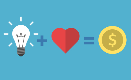 Light bulb plus heart shape equals dollar coin isolated on blue background. Vector illustration. EPS 8, no transparency Illustration