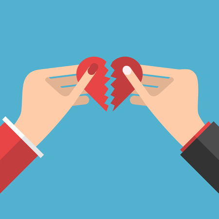 revive: Man and woman hands holding halves of red heart shape isolated on blue background. Vector illustration. EPS 8, no transparency