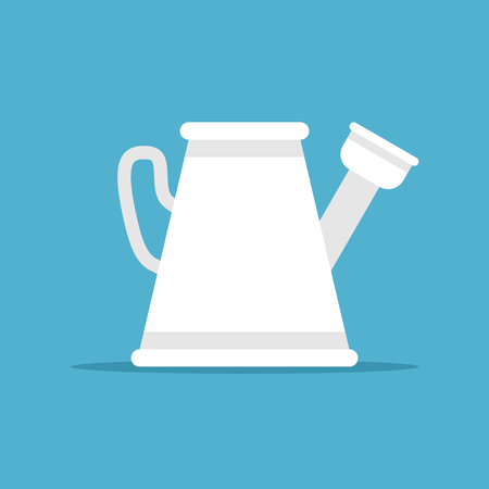 White plastic or metal watering can on blue background with drop shadow.  Vector illustration. EPS 8, no transparency Illustration