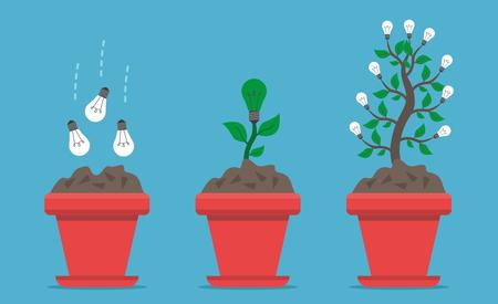 꽃 냄비에 씨앗에서 식물과 파란색 배경에 나무에서 전구를 재배하는 3 단계. 성장, 창의력과 혁신 개념입니다. 평면 디자인. 벡터 일러스트 레이 션. EP 일러스트