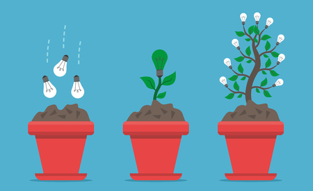 Three stages of growing light bulbs in flower pot from seed to plant and to tree on blue background. Growth, creativity and innovation concept. Flat design. Vector illustration. EPS 8, no transparency