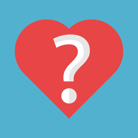 Red heart shape with question mark inside it isolated on blue background. Love, problem and uncertainty concept. Flat design. Vector illustration. EPS 8, no transparency