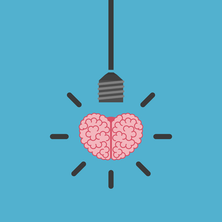 science symbols metaphors: Human brain and lightbulb hanging on wire isolated on blue background. Success, idea, inspiration and business concept. Flat design. Vector illustration. no transparency