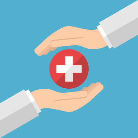Hands of doctor caring about white medical cross in red circle on blue background. Medicine, healthcare and health concept. Flat design. Vector illustration. no transparency