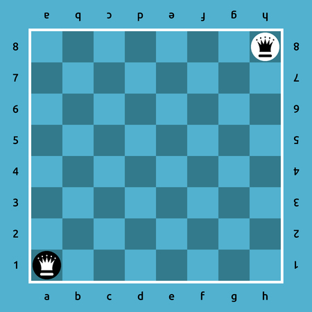 sports symbols metaphors: Black queen vs white one on blue chessboard. Sport, rivalry and competition concept. Flat design. Vector illustration. EPS 8, no transparency Illustration