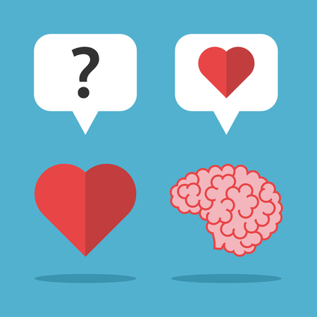 Brain loves heart and it thinks on blue background. Love, mind and emotion concept. Flat design. Vector illustration. EPS 8, no transparency