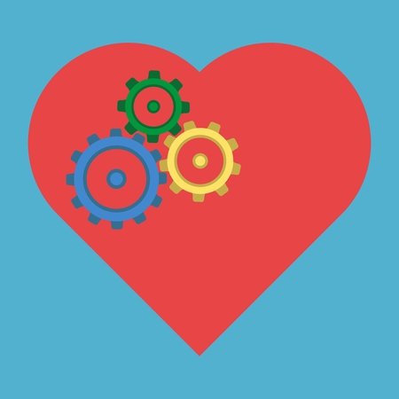 Three colored cogs in red heart isolated on blue background. Healthcare and medicine concept. Flat design. Vector illustration. EPS 8, no transparency Illustration