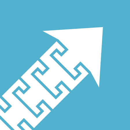 White diagonal arrow of puzzle pieces on blue background. Teamwork, cooperation and growth concept.